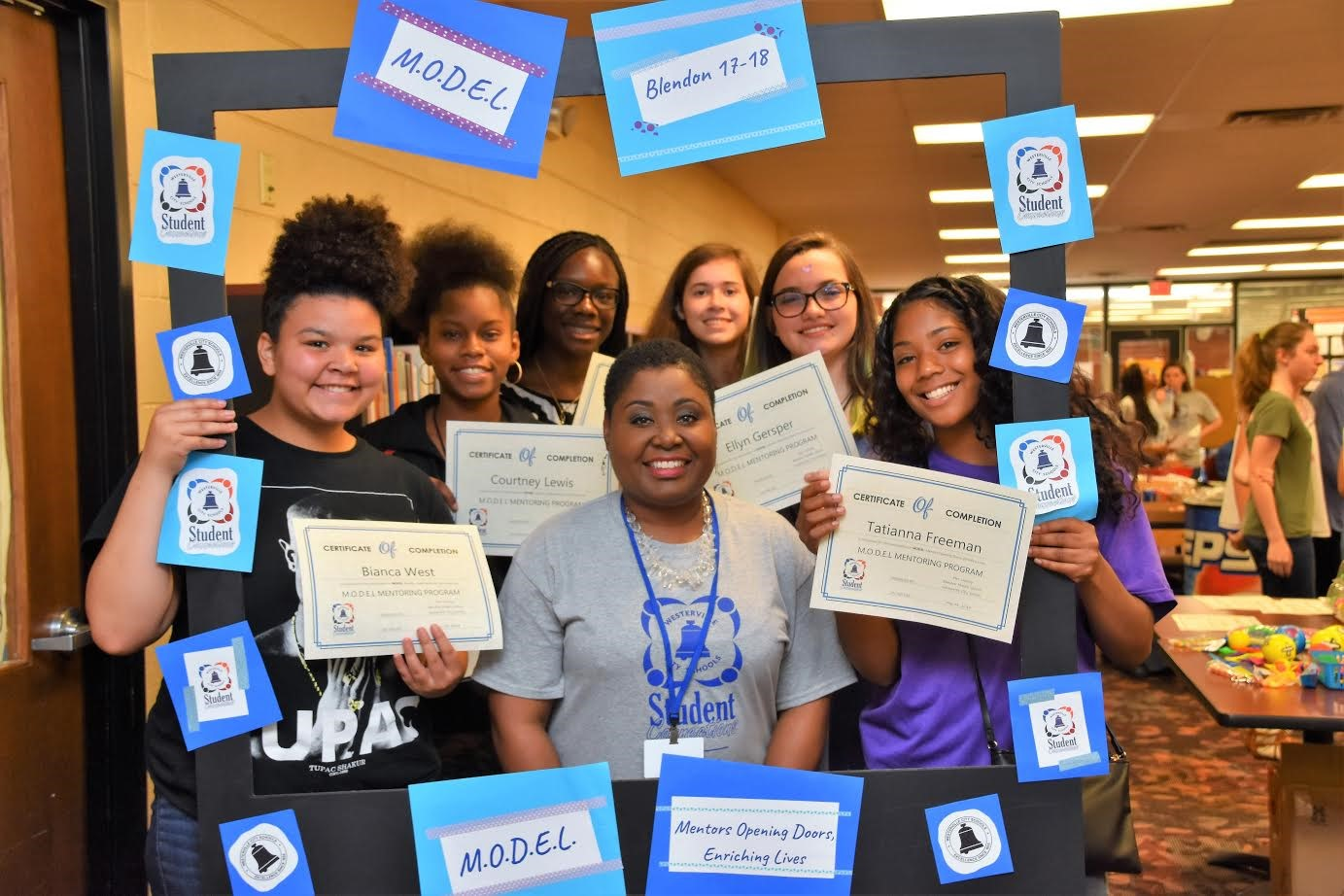 Karen Dorsey pictured with her mentees at Blendon Middle School.