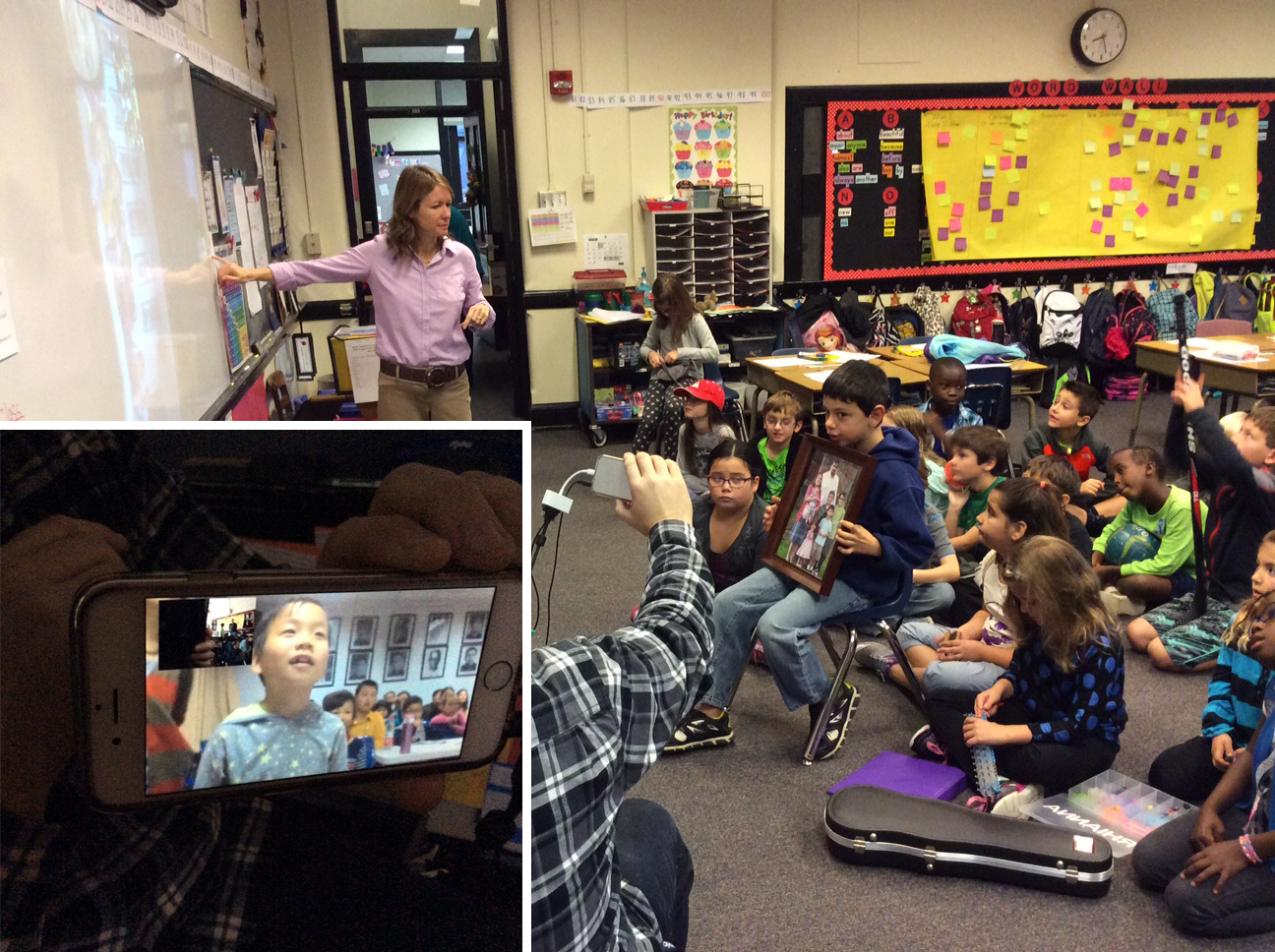 Students in Kate Manteniek's classroom chat with kids in China via video conferencing