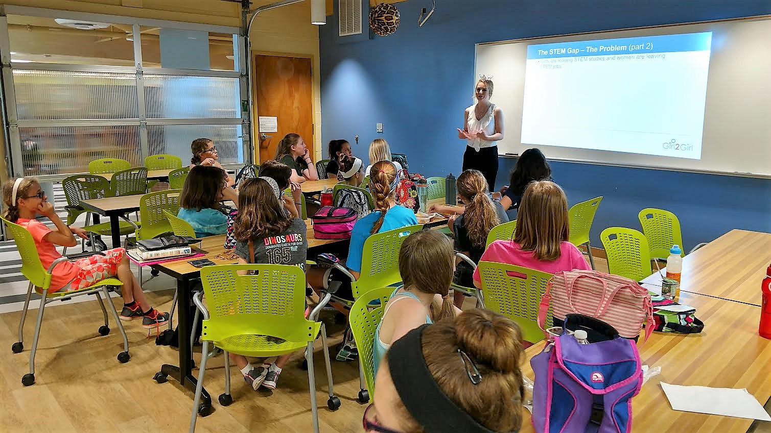 Grace Brown speaks to a class of sixth grade girls about STEM careers