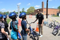 Scott Ulrich talks about bicycle safety with Hawthorne students