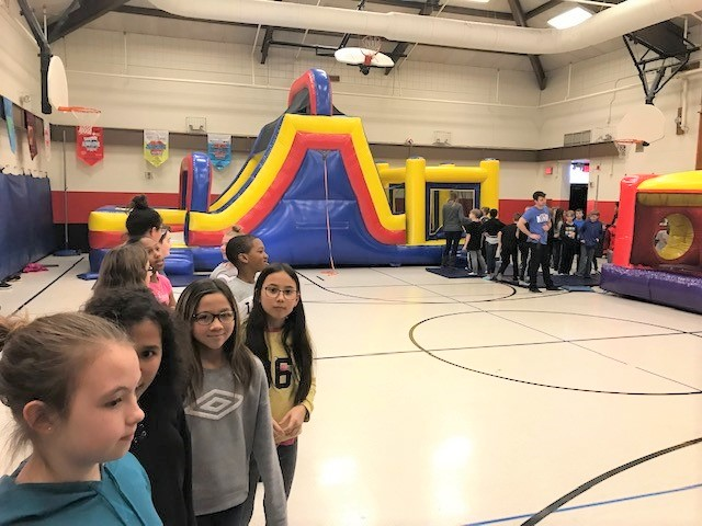 Cherrington Students with Bounce House Party