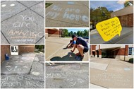 Collage of chalk art and positive messages at different schools