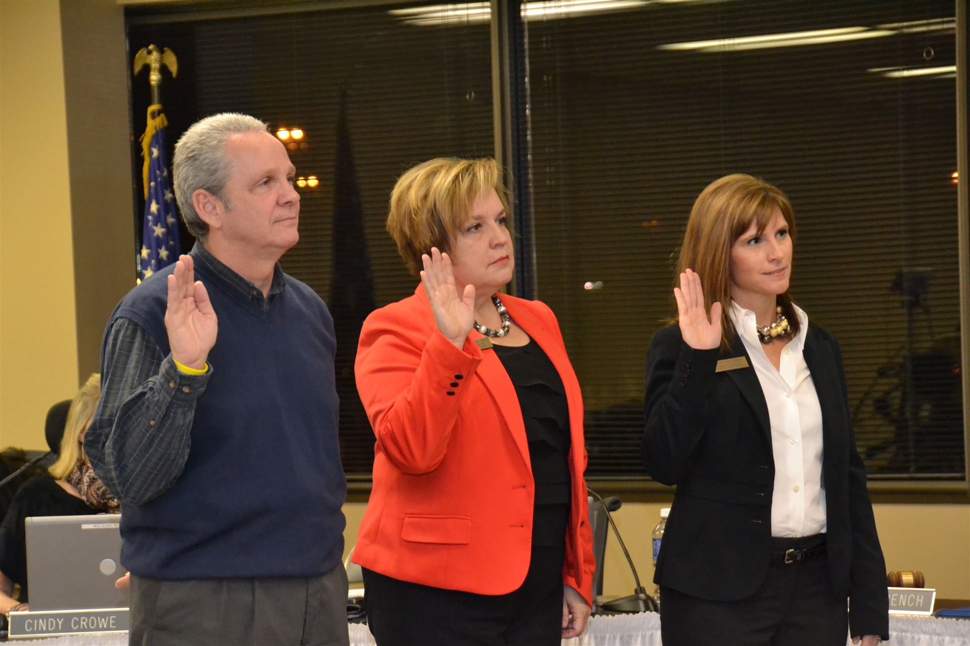 Board of Education Members being sworn into office