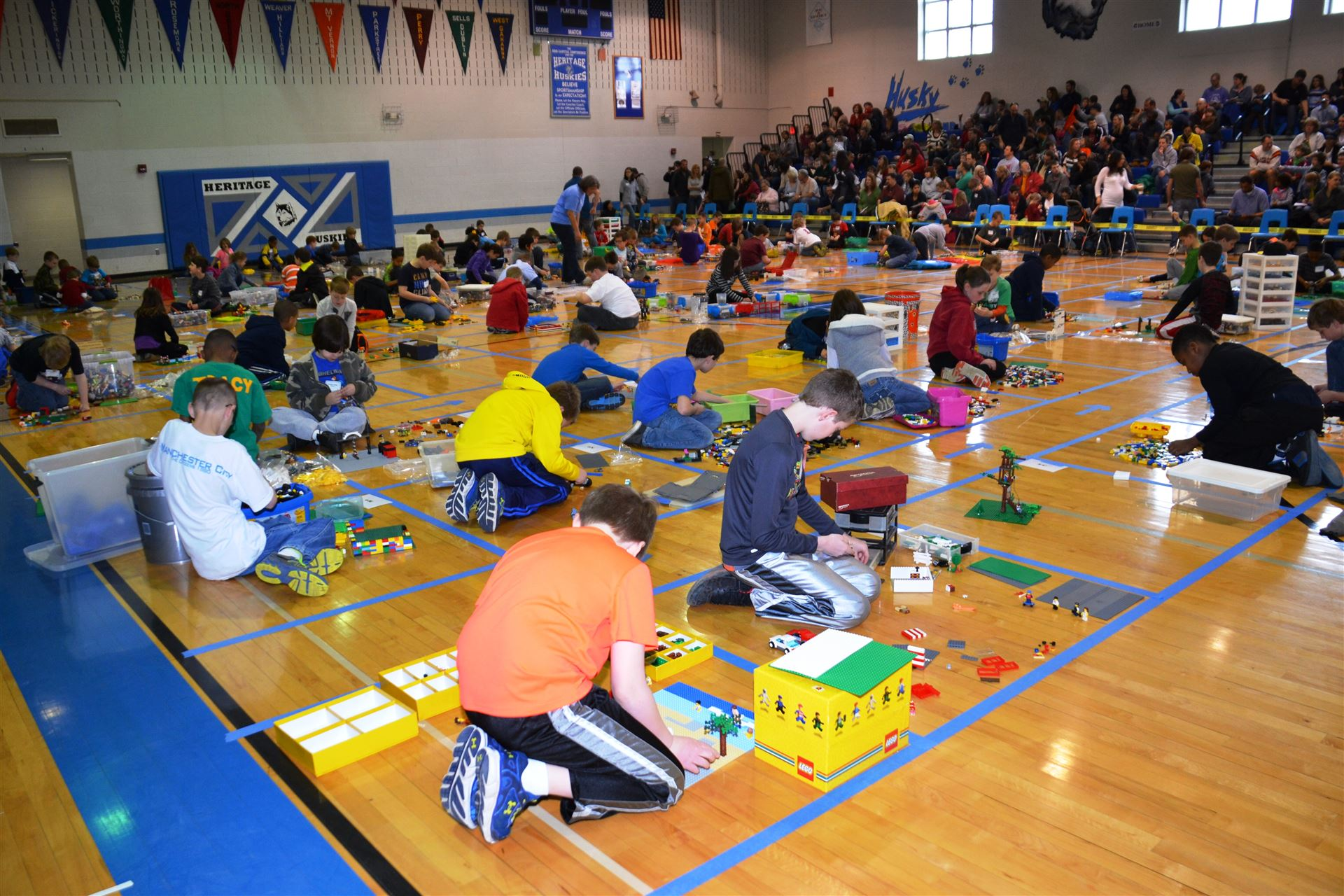Gym filled with Westerville City Schools Lego Competitors