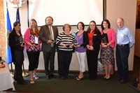 Picture of Service to Youth award winners Sarah McPeak, Alisa Franklin, Dr. Steve Coolahan, Marsha Williams, Danielle Whitehead, Kristine Konik, Janet Custer and Sunrise Rotary President Rob Hunt
