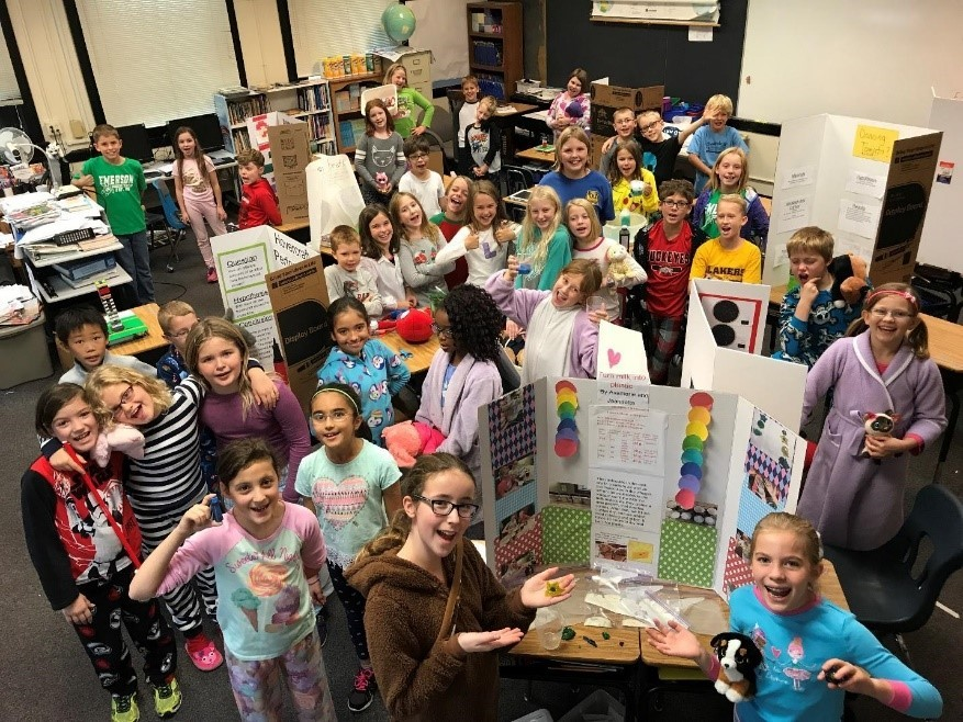 755c3f2fa5af70 Students Celebrate First Science Day at Emerson Elementary · Emerson fourth  graders with their displays