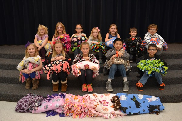 McVay students made blankets for Ronald McDonald House families.