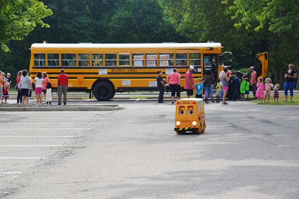 First time school bus riders gathered to learn about being safely transported.
