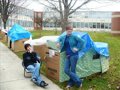 Seventy-seven International Baccalaureate Science students at Westerville South built dwellings using only cardboard boxes and recycled materials.