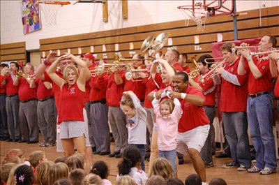 Members of The Ohio State University Alumni Marching Band performed on Hyper Friday, November 20, for Mark Twain students.
