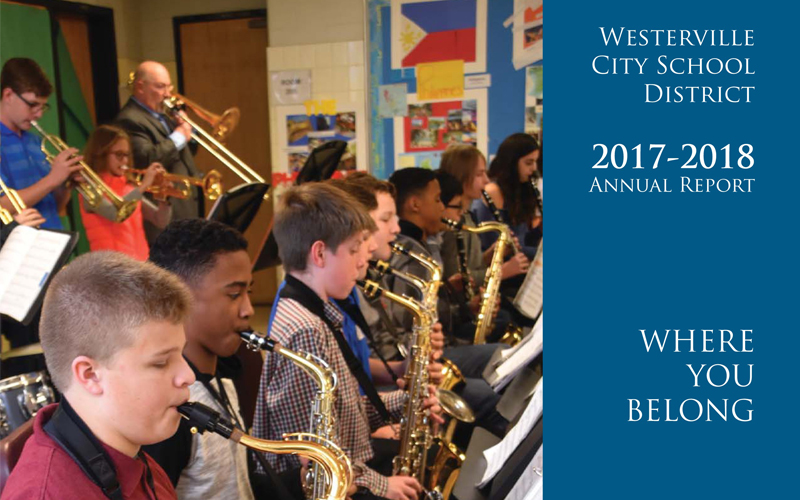 Cover of the Westerville City Schools 2017-2018 Annual Report