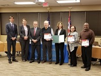 Westerville Board of Education members presented with certificates of appreciation and proclamations from the District and City.