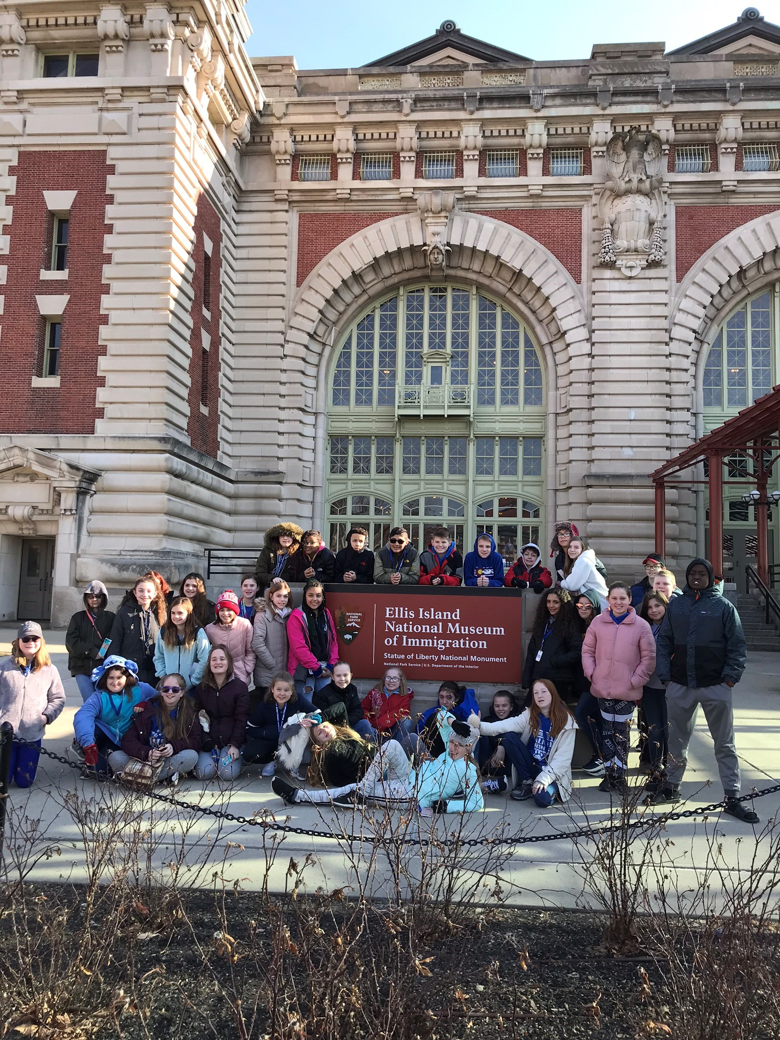 Sixth grade pupils are pictured outside of the Ellis Island National Museum of Immigration.