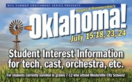 Informational banner for Westerville Summer Enrichment Theatre program, Oklahoma!