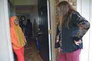 Mark Twain counselor Serena Casale visits families at Abbey Lane Apartments