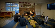 Westerville Fire Department members create a read-aloud video for Whittier Elementary students.