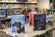 Diverse book options of students at Whittier Elementary's media center