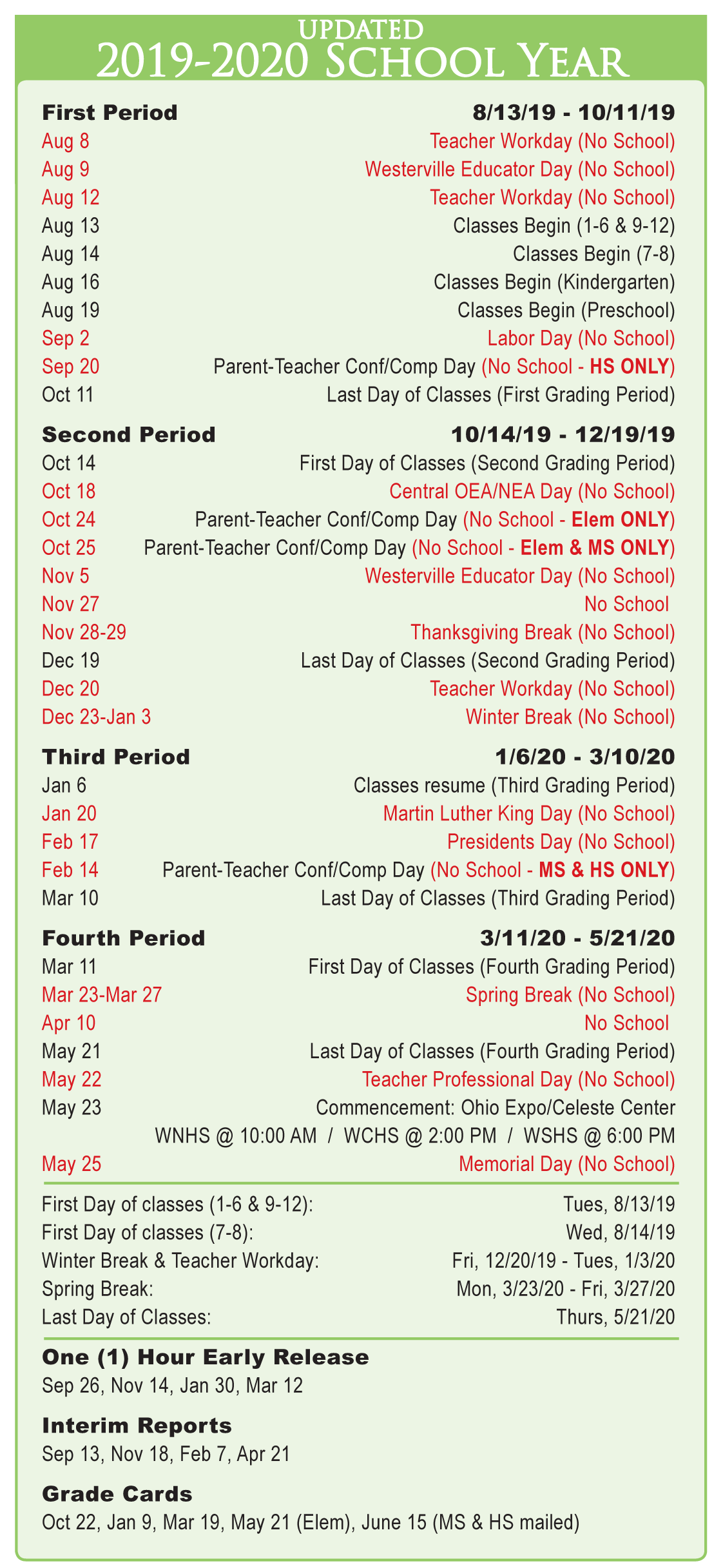 K12 2020 Calendar Annual District Calendar   Westerville City Schools